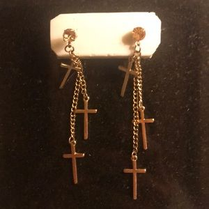 Gold cross drop earrings with rose pink stud
